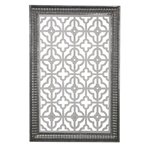 Traditional Wooden Wall Panel with Intricate Designs, Black and Silver