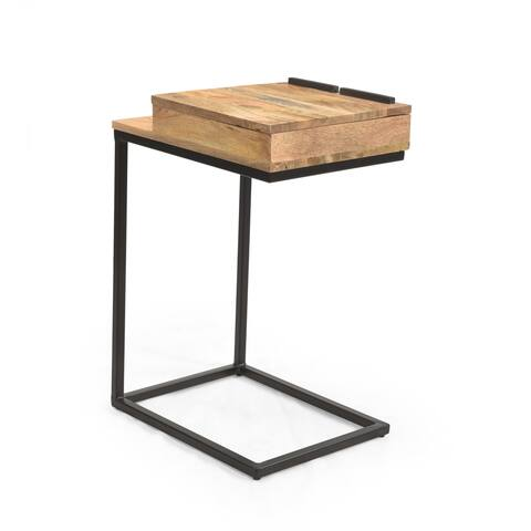 """Rankin Industrial Mango Wood C-Shaped End Table by Christopher Knight Home - 14.00"""" W x 18.00"""" D x 27.00"""" H"""
