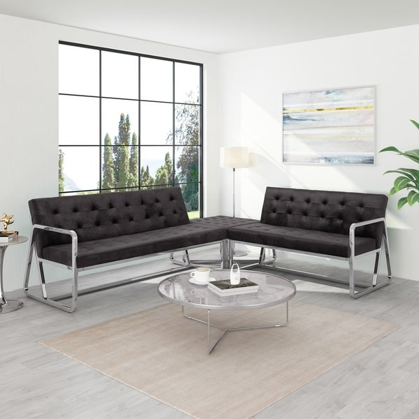 Savoie Modern 5 Seater Velvet Upholstered Sectional with Ottoman by Christopher Knight Home