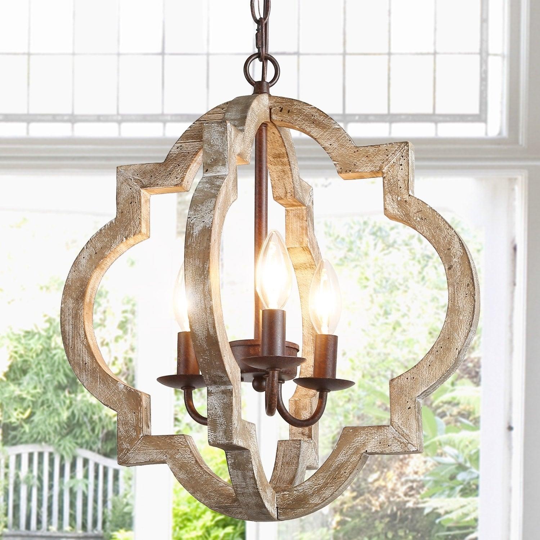 Modern Farmhouse 3 Light Lantern Wood Chandelier For Kitchen Island Dining Room W16 X H17 5 Overstock 30505498