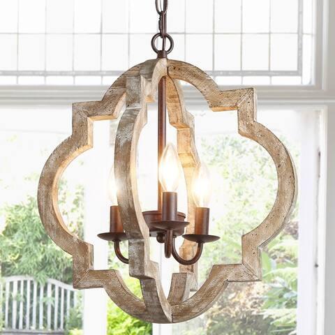 "Modern Farmhouse 3-light Lantern Wood Chandelier for Kitchen Island, Dining Room - W16""x H17.5"""