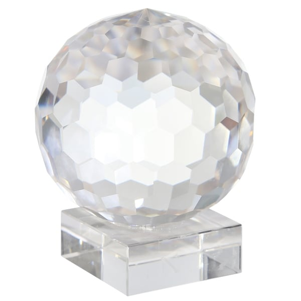 Faceted Crystal Orb with Rectangular Support, Small, Clear