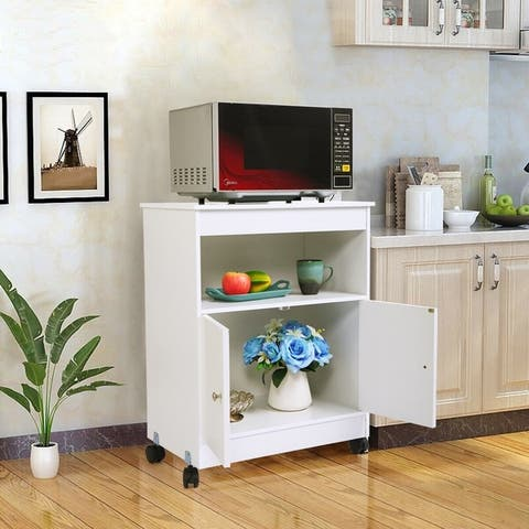Kitchen Cabinet for Home, Wooden Rolling Utility Kitchen Cart Carts