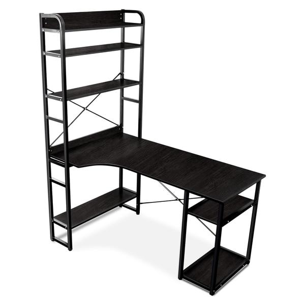 Porch & Den Moresby Metal and MDF 4-tier Bookshelf/ Computer Desk