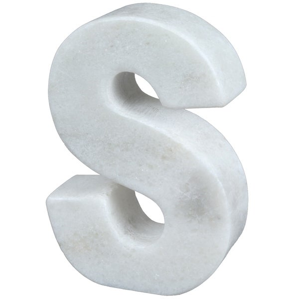 Creative Home Natural Marble Stone Letter S Bookend, Paper Weight, Off-White - N/A