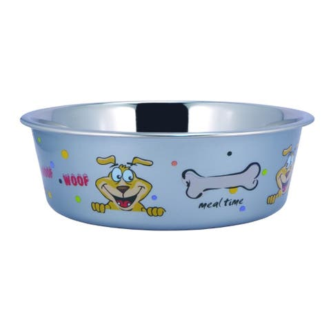 Multi Print Stainless Steel Dog Bowl by Bella N Chaser-Set of 4