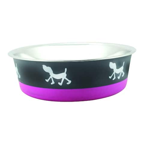 Stainless Steel Pet Bowl with Anti Skid Rubber Base and Dog Design, Large, Gray and Pink-Set of 2
