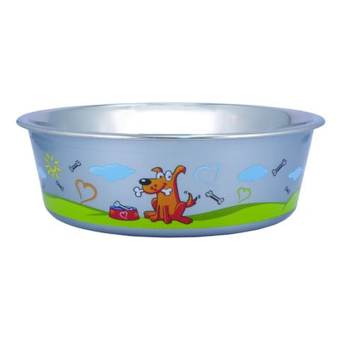 Multi Print Stainless Steel Dog Bowl by Bella N Chaser-Set of 2