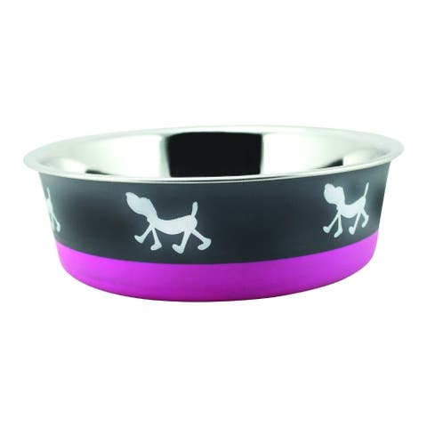 Stainless Steel Pet Bowl with Anti Skid Rubber Base and Dog Design, Gray and Pink-Set of 4