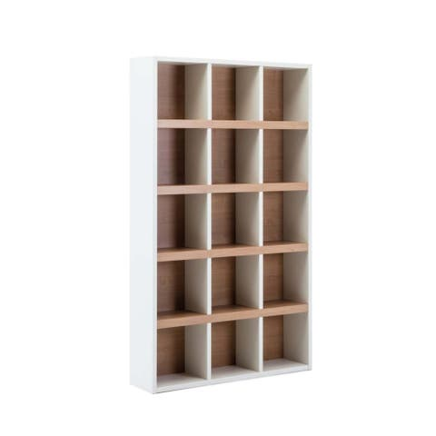 Transitional Wooden Bookcase with Multiple Open Shelves, Cream and Brown