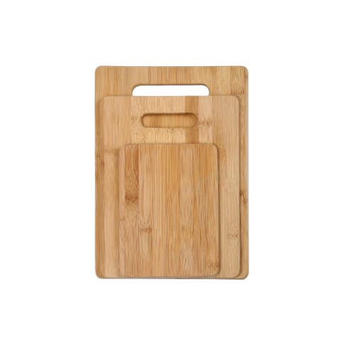 YBM Home Bamboo Cutting Board with Handles Chopping Boards - Set of 3