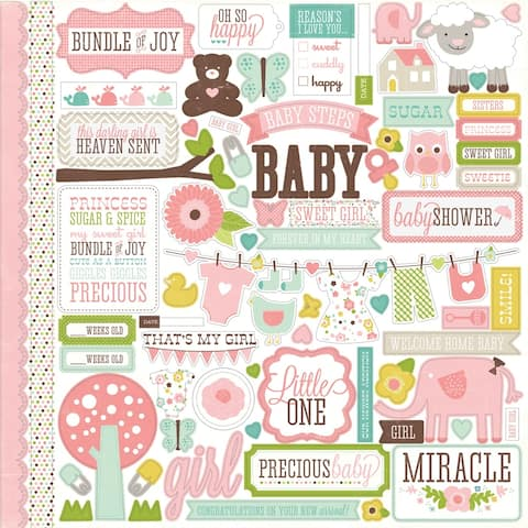 Bundle Of Joy Girl Cardstock Stickers 12X12-Element, BJG-ST-45014