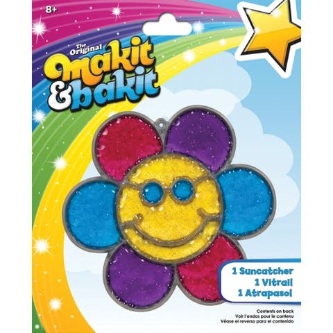 Makit & Bakit Suncatcher Kit-Glitter Smiley Face Flower, TB-48947