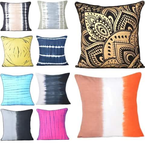 Oussum Handmade Cotton Tie-Dye Throw Pillow Cover Christmas Home Decorative Cushion Cover - 18x18 Inch