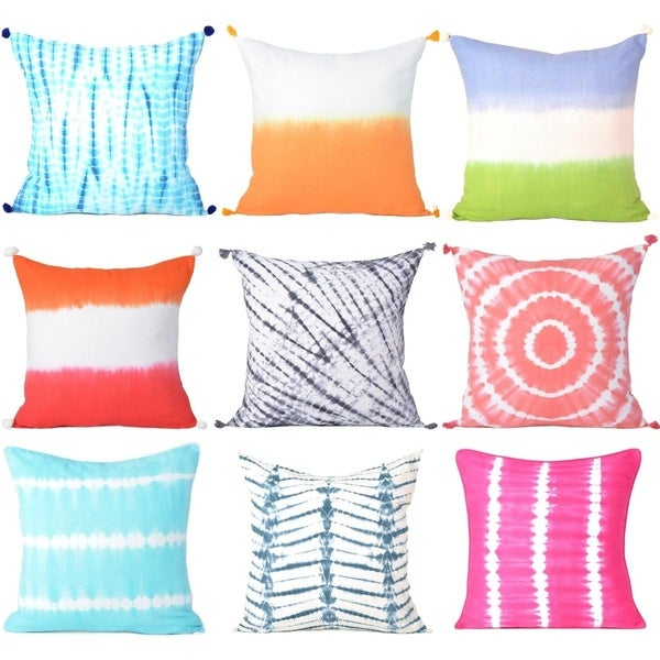 Oussum Handmade Cotton Tie-Dye Pillow Cover Christmas Home Decorative Cushion Cover - 18x18 Inch