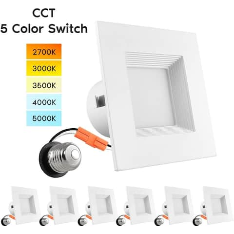 """Luxrite 4"""" Square Recessed LED Can Light, Color Temperature Selectable 2700K / 3000K / 3500K / 4000K / 5000K (6 Pack)"""