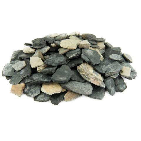 Black and Tan Slate Chips Decorative Garden Stones, Landscape Rock, Aquariums & Terriums 1 Inch - 3 Inch