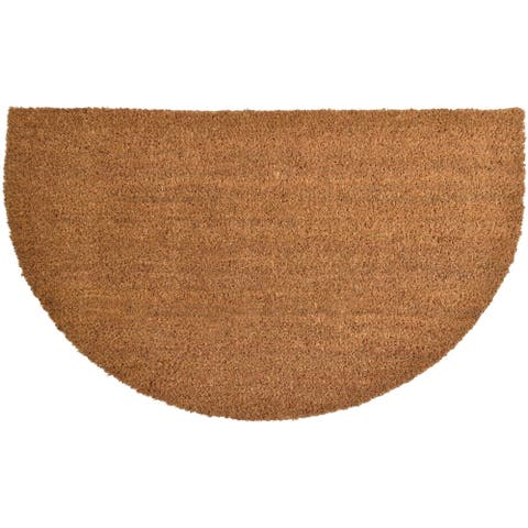 Sheltered Half Round Front Door Mat Braided Coir Coco Rubber Rug