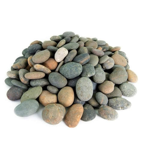 Mexican Beach Pebbles 20 lbs Smooth Round Stones Round Rock for Gardens, Landscape, Ponds, and Décor