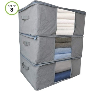 Evelots Foldable Home-Closet-Room Storage Organizer Bags-Clearview Window - Set of 3