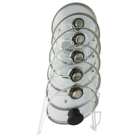 Porch & Den Montreux White 6-slot No Scratch Pot Lid Cabinet Storage Rack