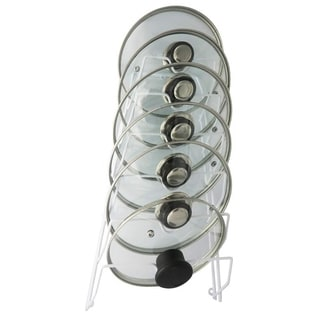 Link to Porch & Den Montreux White 6-slot No Scratch Pot Lid Cabinet Storage Rack Similar Items in Kitchen Storage
