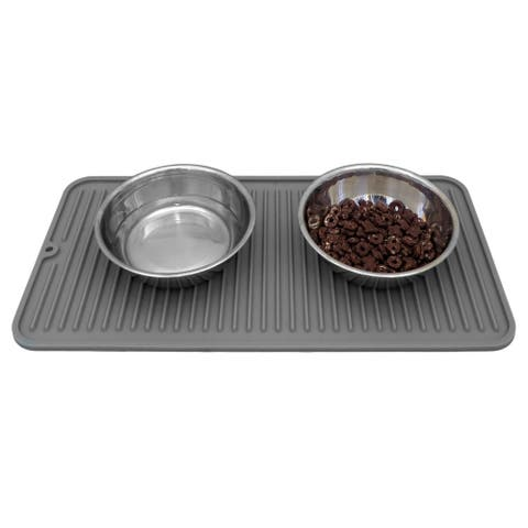 Evelots Cat/Dog Food Mat-Silicone-NonSlip-Waterproof-With Rivets-Dishwasher Safe - Set of 1