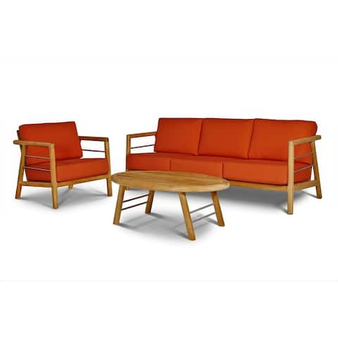 Aalto 4-Piece Teak Deep Seating Outdoor Sofa Set with Sunbrella Melon Cushions