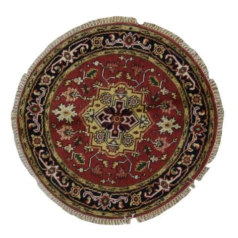 FineRugCollection Handmade Serapi Round Oriental Rug - 4' x 4'
