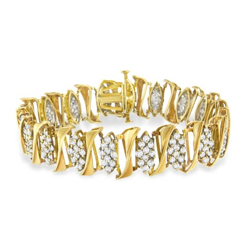 10K Yellow Gold 7ct TDW Diamond Cluster Link Tennis Bracelet (I-J,I2-I3)