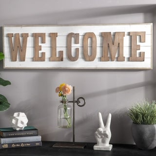 "Wood Rectangle Wall Decor with Brown Embossed ""WELCOME"" Writing and Metal Sawtooth Back Hangers Painted Finish White"