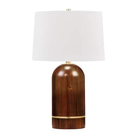 Albertson 1-light Aged Brass Table Lamp, White Linen