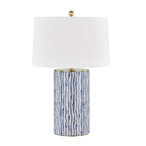Bohemia 1-light Gold Leaf and Blue Table Lamp, White Belgian Linen
