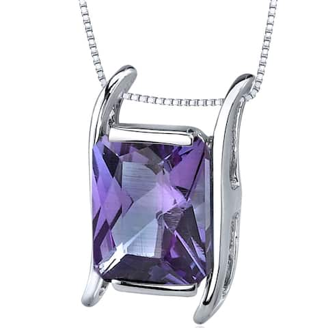 1.5 ct Radiant Cut Created Alexandrite Pendant in Sterling Silver, 18""