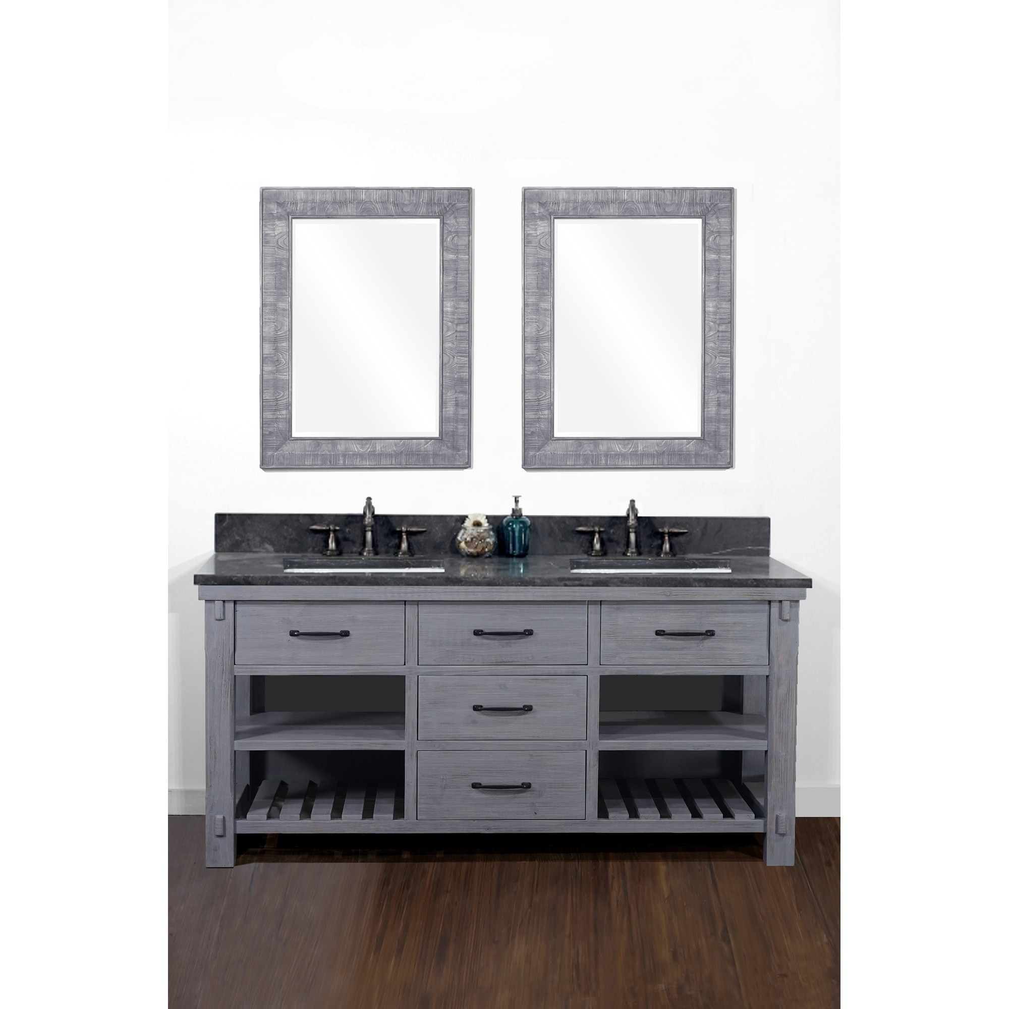 60 Rustic Solid Fir Double Sink Vanity In Blue Grey Driftwood Finish With Marble Top No Faucet Overstock 30510565