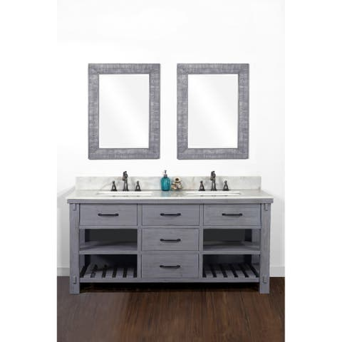"""60""""Rustic Solid Fir Double Sink Vanity in Blue Grey Driftwood Finish with Marble Top-No Faucet"""
