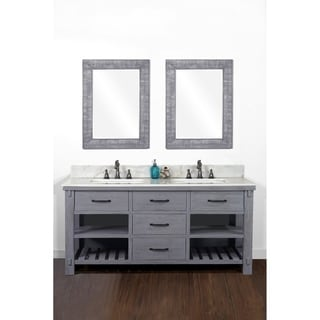 "60""Rustic Solid Fir Double Sink Vanity in Blue Grey Driftwood Finish with Marble Top-No Faucet"