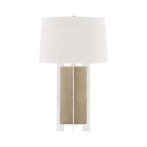 Coram 1-light Satin Stainless and Fog Gray Table Lamp, White Linen