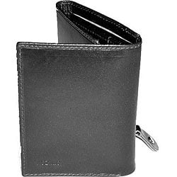 Kozmic Tri-Fold Black Leather Wallet