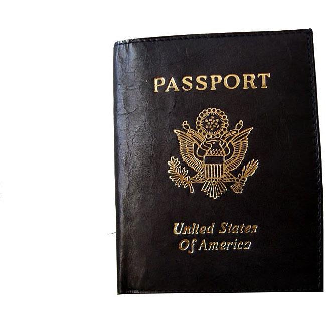 Kozmic Black Leather Passport Cover