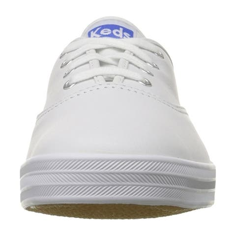 Keds WH45750 Women's Champion Original Leather Lace-Up Sneaker, White, Size 8.5