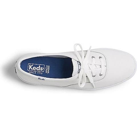 Keds WH45750 Women's Champion Original Leather Lace-Up Sneaker, White, Size 7.5