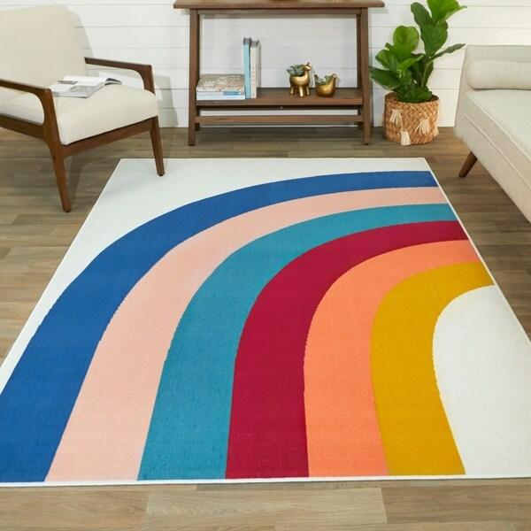 Penelope Rainbow Print Indoor/Outdoor Area Rug. Opens flyout.