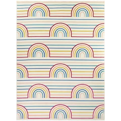 Taylor & Olive Striped Rainbow Area Rug
