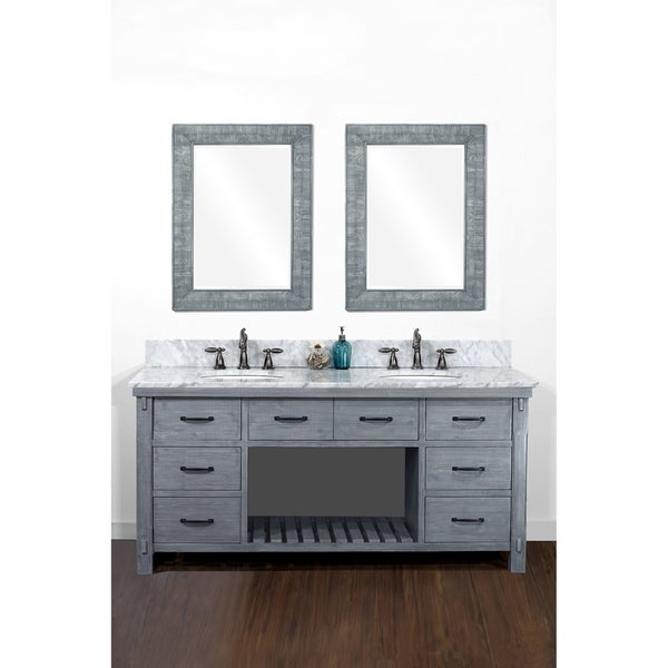 """72""""Rustic Solid Fir Double Sink Vanity in Blue-Grey Driftwood Finish with Marble Top-No Faucet"""