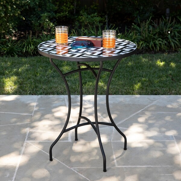 Havenside Home Findland Contemporary Black Ceramic Accent Table