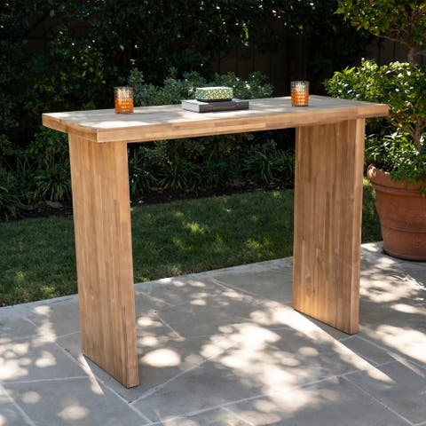 Vinalli Contemporary Natural Wood Bar Table by Havenside Home