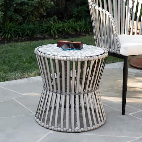 Millie Contemporary Gray Stone Side Table by Havenside Home