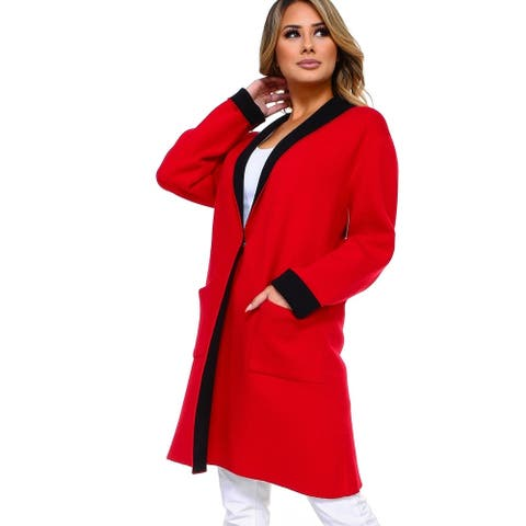 Women's Color Block Heavy Knit Cardigan with Pockets