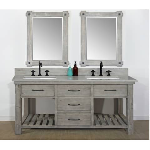 """72""""Rustic Solid Fir Double Sink Vanity in Grey Driftwood Finish with Marble Top-No Faucet"""